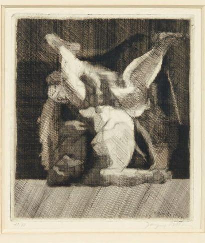 Jacques VILLON (1875-1963) La lutte Gravure signée en bas à droite. Numérotée 10/50...