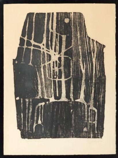 REZVANI (NÉ EN 1928) Composition abstraite Bois épreuve d'artiste. Signée et datée...