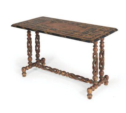 TABLE à entretoise en bois peint façon faux...