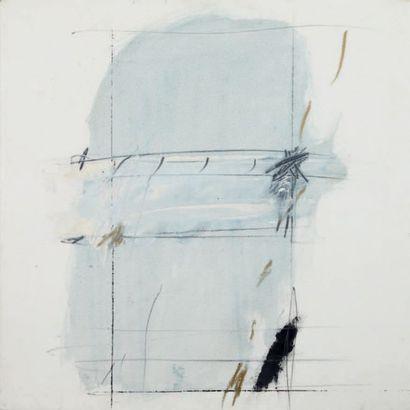 IVAN IVACKOVIC Composition abstraite gris-blanc, 1980 Huile sur toile. Signée et...