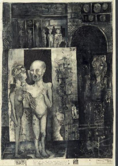 LJUBA (LJUBA POPOVITCH DIT-NÉ EN 1934) Composition aux personnages nus Encre sur...