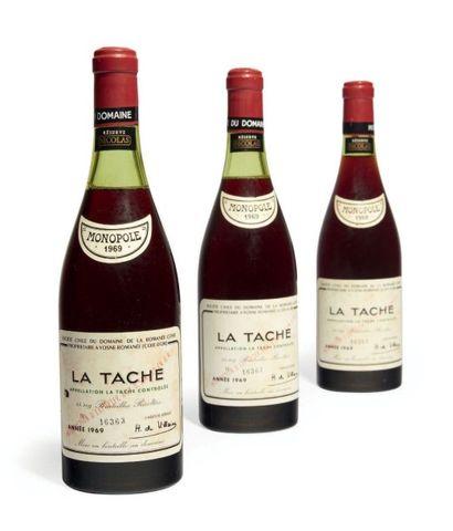3 BOUTEILLES LA TACHE Grand cru. Domaine...