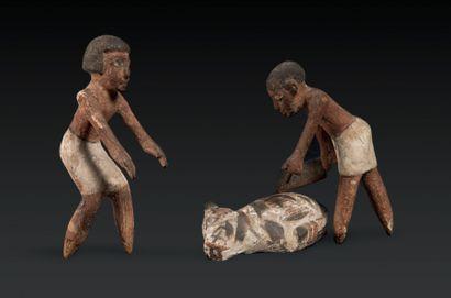 MODÈLE DE BOUCHERIE. Éléments d'un modèle représentant deux hommes vêtus de pagnes...