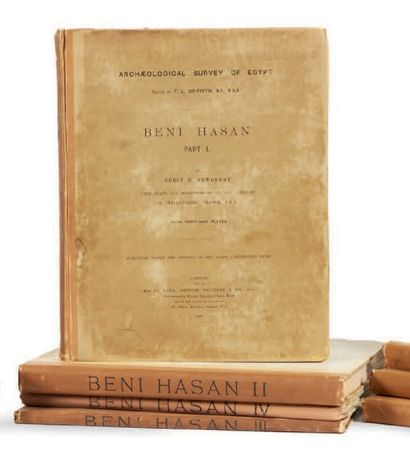 NEWBERRY P. E. & GRIFFITH F. LL. Beni Hasan, parts I, II, III, IV, 4 volumes reliés,...