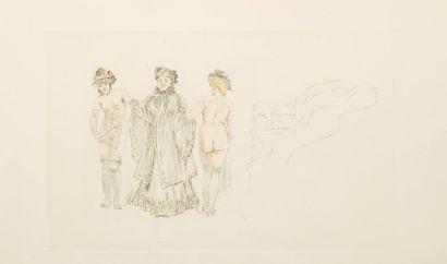 Félicien Rops (1833-1898) Les cousines de la colonelle. Gravure en couleurs au repérage...