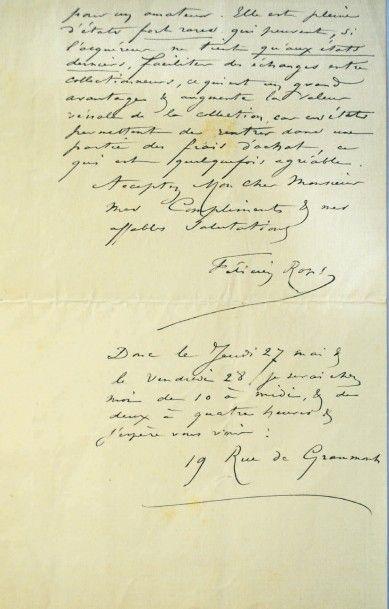 Félicien Rops (1833-1898) Lettre de deux pages de Rops au sujet de sa collection...