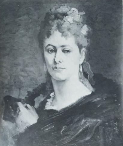 Félicien Rops (1833-1898) Photo originale d'époque «La rousse à l'écharpe noire et...