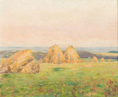 JEAN-BAPTISTE LAMBÉ (1867-1952) Les meules de foin en Ardenne, 1932 Huile sur panneau...