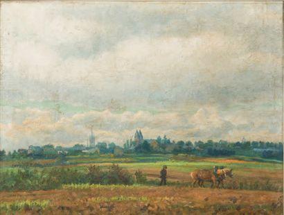 JEAN-BAPTISTE LAMBÉ (1867-1952) Vue d'Arlon au laboureur Huile sur panneau Signée...