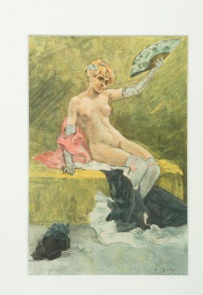 Félicien Rops (1833-1898) Canicule. Gravure en couleurs au repérage gravée par A....