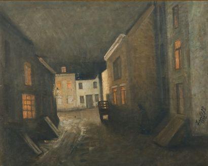 JEAN-BAPTISTE LAMBÉ (1867-1952) Rue nocturne, 1932 Huile sur panneau Signée en bas...