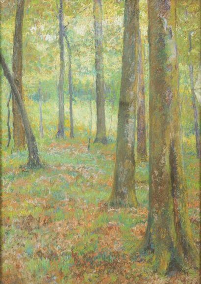 JEAN-BAPTISTE LAMBÉ (1867-1952) Dans les bois Pastel sur papier Signé en bas à gauche...
