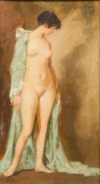 Emile BAES (1879-1953) Nu au peignoir, 1916. Huile sur toile Signée et datée en haut...
