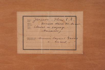 Floris JESPERS (1889-1965) Clowns dans un paysage, 1933. Eglomisé. Signé et daté...