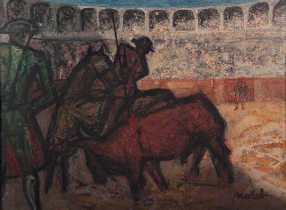 MARCEL NOTEBAERT (1924-1986) Corrida. Huile sur toile. Signé en bas à droite. H_115...