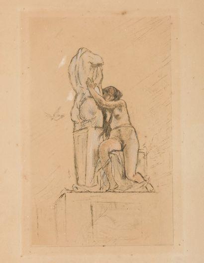 Félicien Rops (1833-1898) Confidence. Signée en rouge (signature complète Félicien...