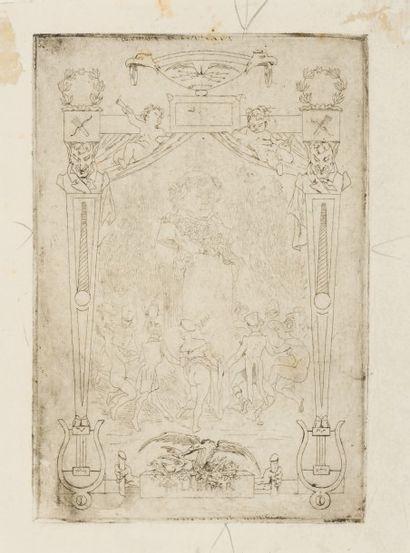 Félicien Rops (1833-1898) Les gaietés de Béranger. Ensemble comprenant: - Gravure....