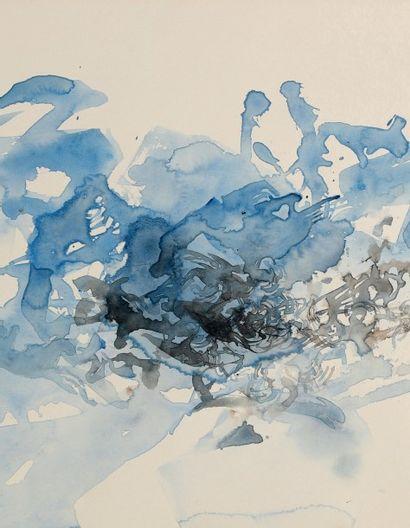 ZAO WOU-KI (1921-2013) Composition, 1972 Aquarelle sur papier d'Arches. Signée et...