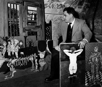 William Nelson Copley (1919-1996) Hot Rod, 1955 Huile et collage sur toile. Signé...