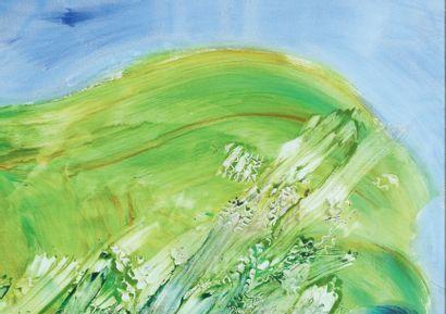 Jean MESSAGIER (1920-1999) On glisse pour mieux voir un courant, 1974 Huile sur toile....