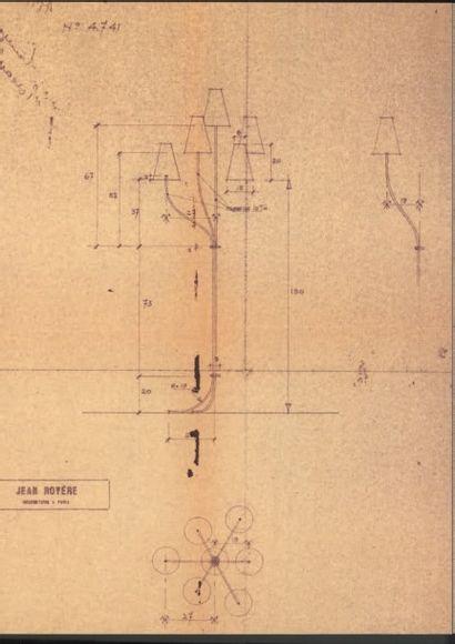 JEAN ROYÈRE (1902-1981) France Rare lampadaire modele «Persan» Laiton doré et patiné,...