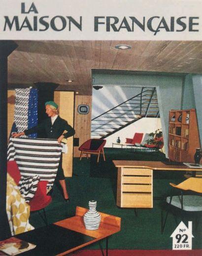 CLAUDE VASSAL (1928-1965) France Bureau Métal laqué, chêne et bois laqué Édition...
