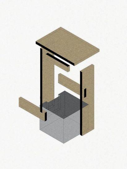 NORAYR KHACHATRYAN (NÉ EN 1983) Prototype Table d'appoint modele «I F n r. 1» Marbre...
