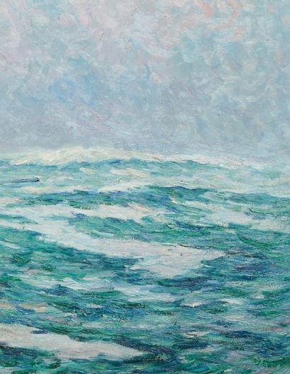Henry MORET (1856-1913) Barque de pêche en mer, 1912 Huile sur toile. Signée et datée...