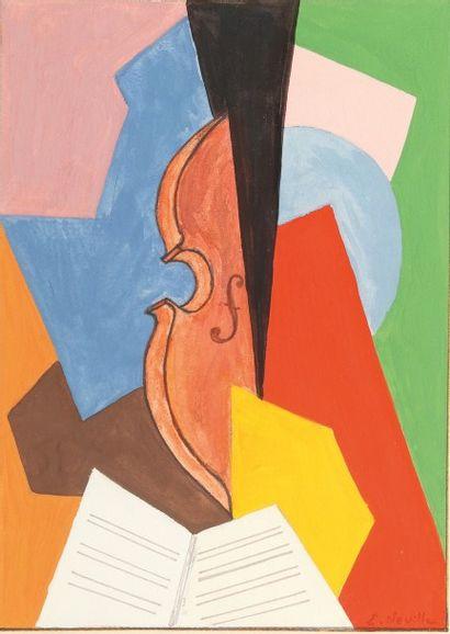 ERIC NEVILLE Nature morte au violon Gouache sur papier. Signée en bas à droite. H_27,5...