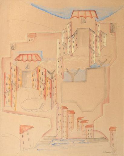 Leopold SURVAGE (1879-1968) Esquisse pour Villefranche, 1915 Aquarelle et crayon...