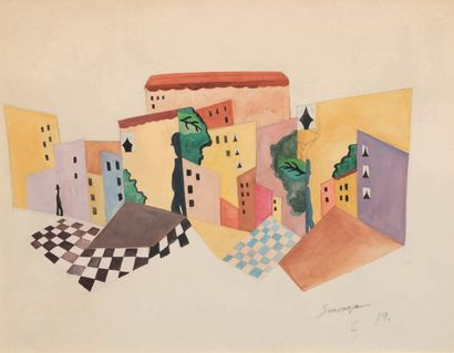 Leopold SURVAGE (1879-1968) La ville, 1919 Gouache sur papier. Signée et datée en...