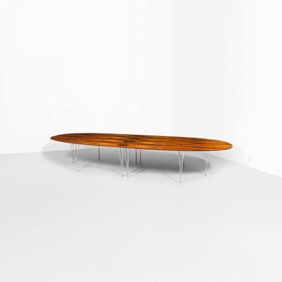 Bruno MATHSSON (1907-1988) Suède Grande table modèle «Superellipse» Palissandre et...