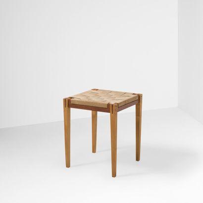 MICHAEL BLOCH (1930-2015) Prototype Danemark Tabouret Chêne, teck et tissu Vers 1960...