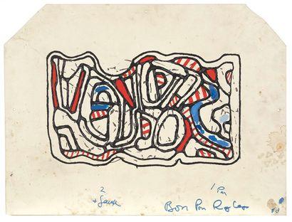 D'après Jean DUBUFFET (1901-1985) Personnage mi-corps, 1967 Plaque sérigraphique...