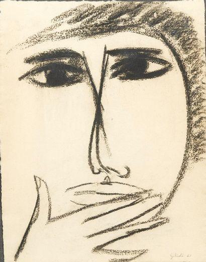 Emile Gilioli (1911-1977) Tête de personnage, 1960 Dessin au fusain sur papier Signé...