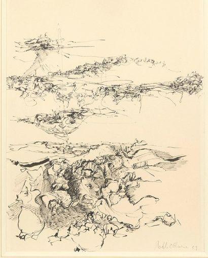 Roel D'Haese (1921-1996) Sans titre, 1959 Dessin à la plume et encre noire Signé...