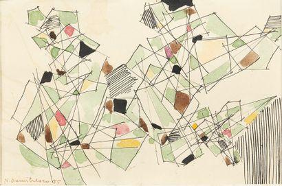 NATALIA DUMISTRESCO (1915-1997) Figures géométriques, 1955 Aquarelle et encre noire...