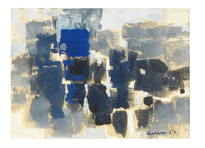 Paul Kallos (1928-2001) Compositions abstraites, 1954 Ensemble de quatre aquarelles...