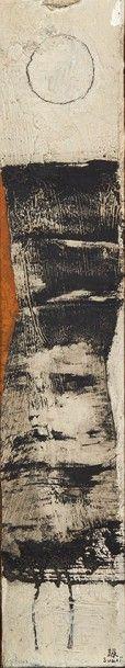 Kumi SUGAI (1919-1996) Composition en noir sur fond blanc, circa 1955 Huile sur toile...