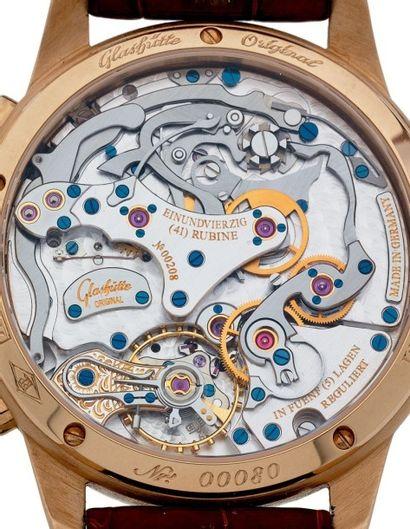 GLASHUTTE PANOGRAPH N° 00080 Beau chronographe bracelet en or rose 18k (750). Boîtier...