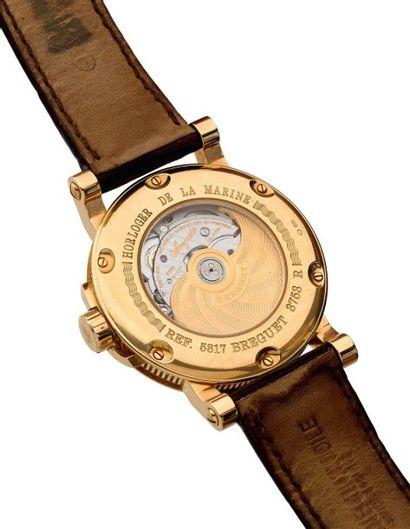 BREGUET MARINE REF. 5817 N°3753R Grande montre bracelet en or rose 18k (750). Boitier...