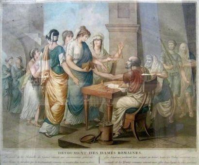 Le découvrement des dames romaines, gravure...