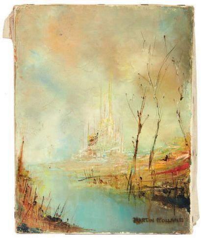 MARTIN Rolland (Né en 1926) Paysage Huile sur toile. H_19 cm L_15 cm