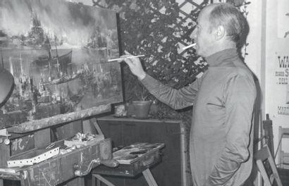 MARTIN Rolland (Né en 1926) Vue portuaire Huile sur toile. Signée en bas à droite....