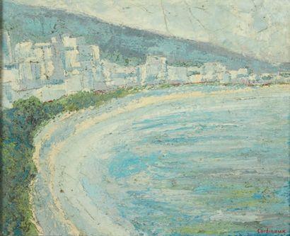 JEAN-CLAUDE CARDINAUX (NÉ EN 1943) Jardin d'amour à Cannes Huile sur panneau. Signée...