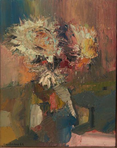 JEAN-CLAUDE CARDINAUX (NÉ EN 1943) Bouquet de fleurs Huile sur toile. H_75 cm L_55...