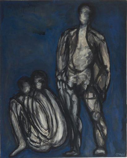 HERMAN (?) Silhouettes grises de trois personnages sur fond bleu. Huile sur toile....