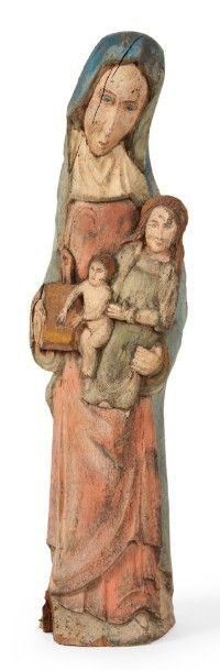 SAINTE ANNE TRINITAIRE en bois sculpté et...