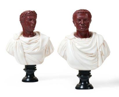 Paire de bustes des empereurs Titus et Neron...
