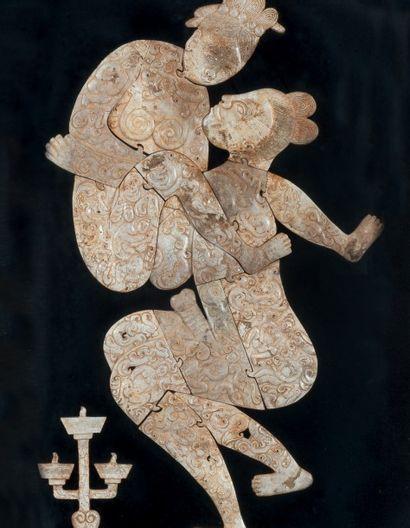 Scène érotique en pierre dure sculptée. Chine....